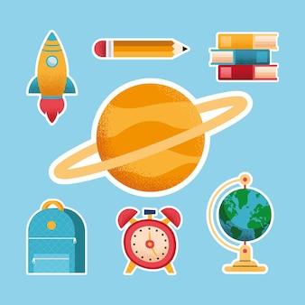 Conjunto de ícones de material escolar sete