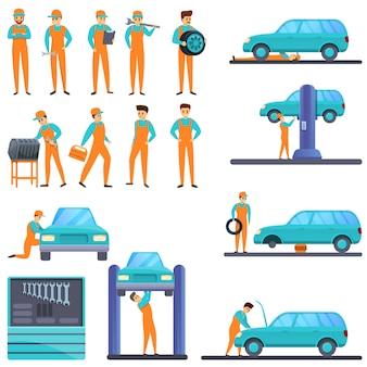 Conjunto de ícones de mecânico de automóveis, estilo cartoon
