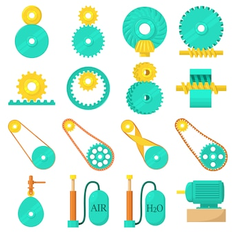 Conjunto de ícones de mecanismos em movimento