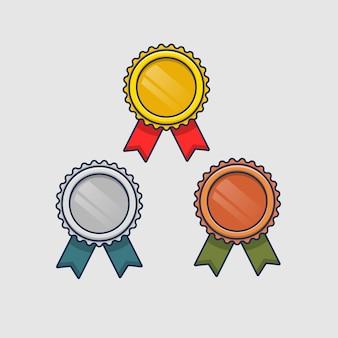 Conjunto de ícones de medalha de desenho animado