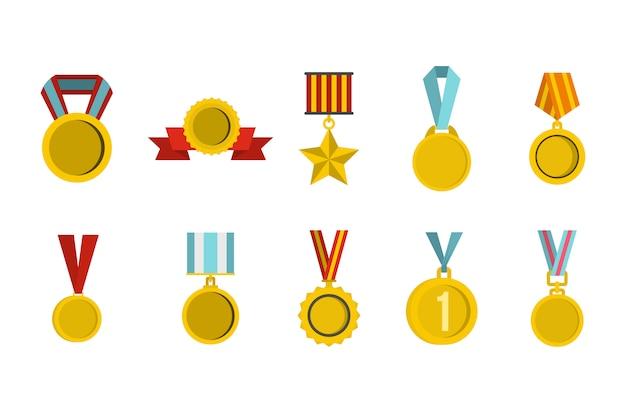 Conjunto de ícones de medalha de ouro. plano conjunto de coleção de ícones de vetor de medalha de ouro isolado