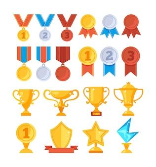 Conjunto de ícones de medalha de taça dourada troféu prêmio de conquista