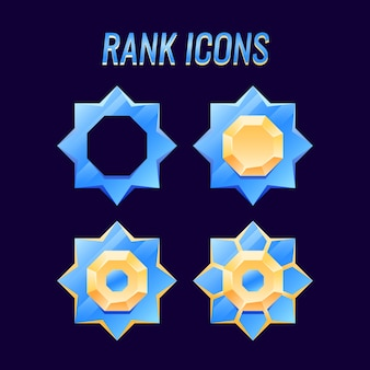 Conjunto de ícones de medalhas de classificação de ouro e diamante gui, perfeito para elementos de recursos de interface do usuário do jogo