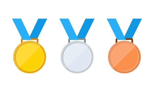 Conjunto de ícones de medalhas de ouro, prata e bronze ou primeiro, segundo e terceiro lugar ou medalhas de prêmio, vetor