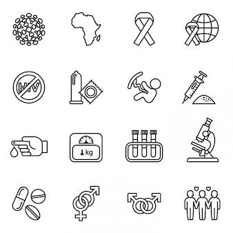 Conjunto de ícones de medicamentos hiv médicos. conceito de dia mundial da aids.
