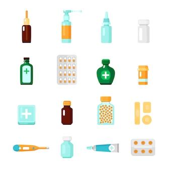 Conjunto de ícones de medicamentos