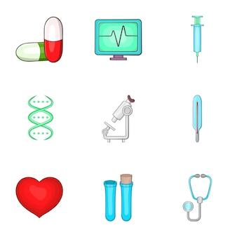Conjunto de ícones de medicina, estilo cartoon