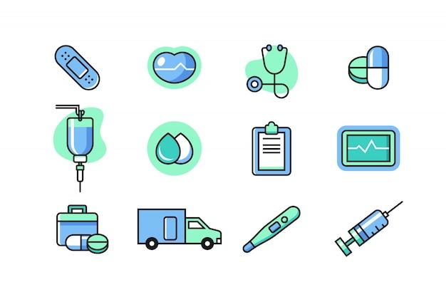 Conjunto de ícones de médico