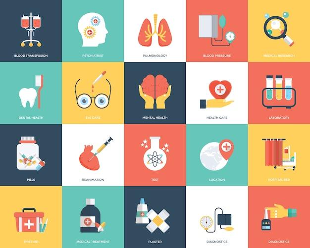 Conjunto de ícones de médicos e de saúde