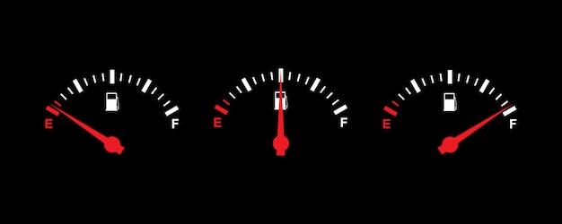 Conjunto de ícones de medidor de combustível design simples Vetor Premium
