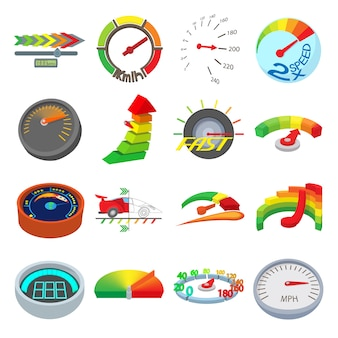 Conjunto de ícones de medidor em vetor isolado de estilo dos desenhos animados