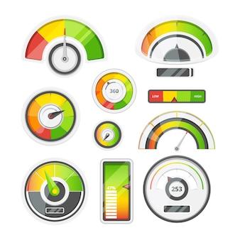 Conjunto de ícones de medidores de nível