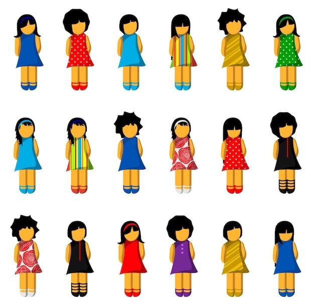 Conjunto de ícones de meninas com vestidos coloridos