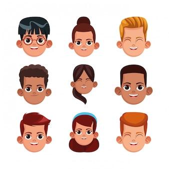 Conjunto de ícones de meninas e meninos dos desenhos animados