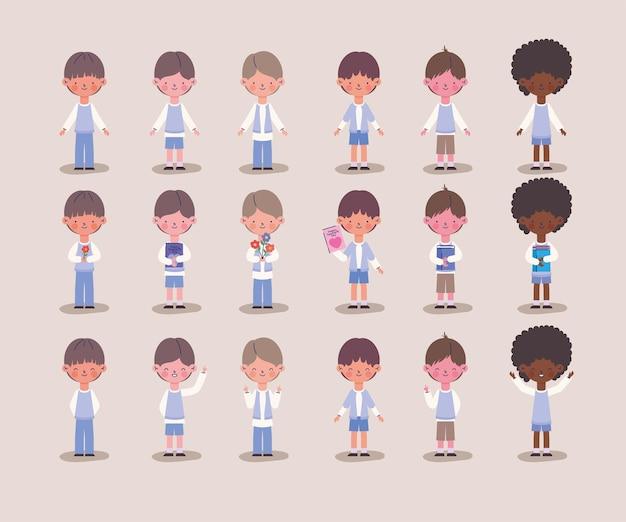 Conjunto de ícones de meninos jovens fofos