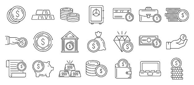 Conjunto de ícones de metais do banco