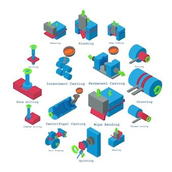 Conjunto de ícones de metalurgia, estilo isométrico