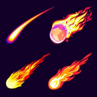 Conjunto de ícones de meteorito. conjunto de desenhos animados de ícones de meteorito