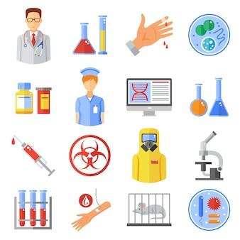 Conjunto de ícones de microbiologia