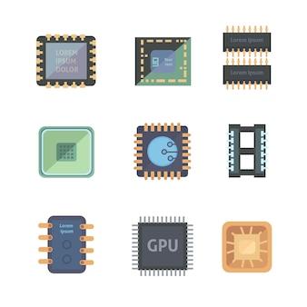 Conjunto de ícones de microchip isolados em fundo branco.