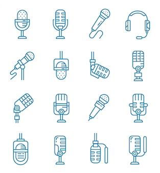 Conjunto de ícones de microfone com estilo de estrutura de tópicos