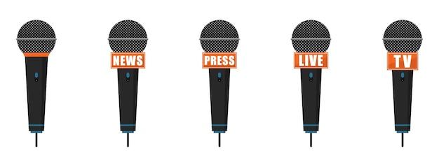 Conjunto de ícones de microfone. imprensa, notícias, microfones ao vivo e tv.