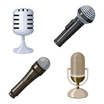 Conjunto de ícones de microfone retrô e vintage.