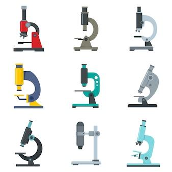 Conjunto de ícones de microscópio