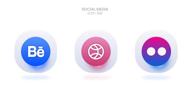 Conjunto de ícones de mídia social 3d