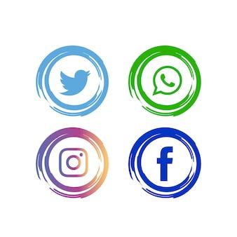 Conjunto de ícones de mídia social abstrata