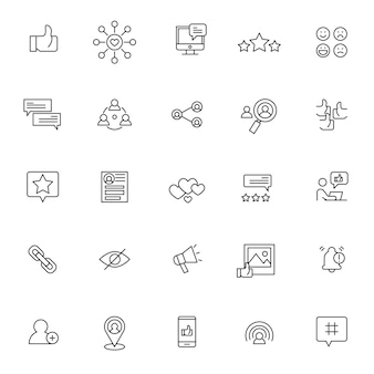Conjunto de ícones de mídia social com contorno simples