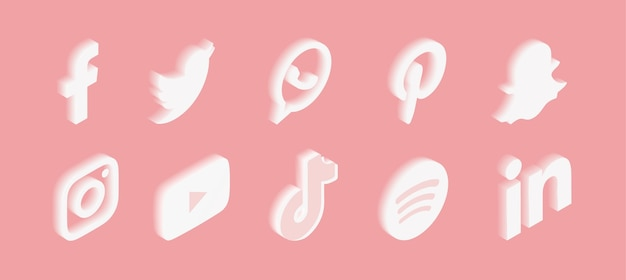 Conjunto de ícones de mídia social com gradiente em rosa