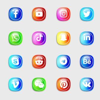 Conjunto de ícones de mídia social com ícones 3d brilhantes e brilhantes