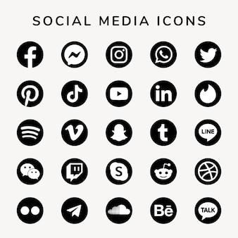 Conjunto de ícones de mídia social com logotipos do facebook, instagram, twitter, tiktok e youtube