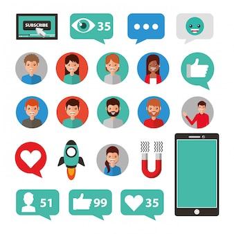 Conjunto de ícones de mídia social e multimídia