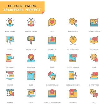 Conjunto de ícones de mídia social e rede de linha plana