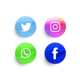 Conjunto de ícones de mídia social elegante abstrato