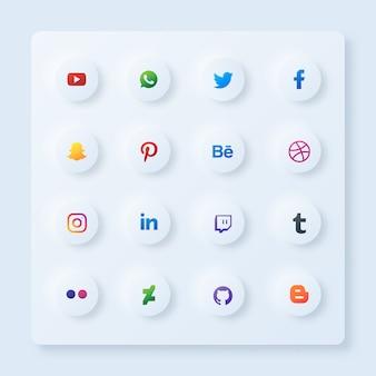 Conjunto de ícones de mídia social em círculo com estilo de neumorfismo