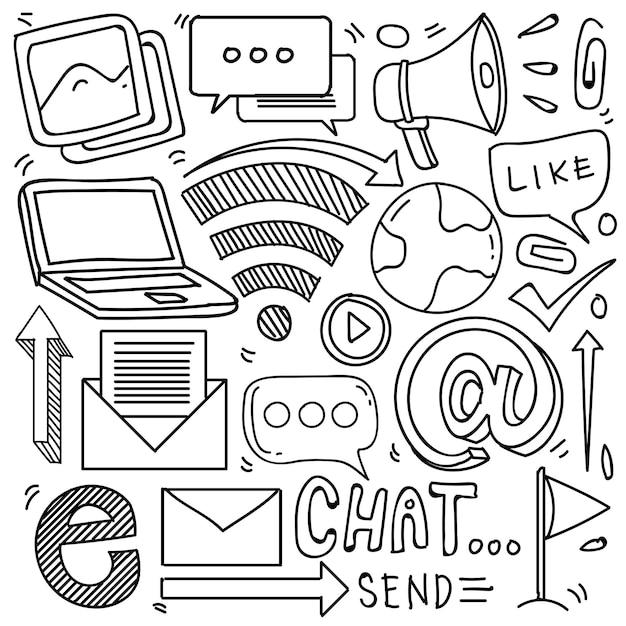 Conjunto de ícones de mídia social em estilo doodle isolado no fundo branco conjunto de doodle de vetor
