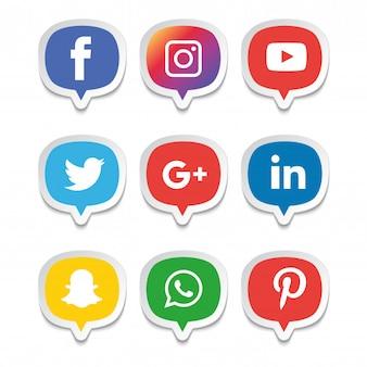 Conjunto de ícones de mídia social. ilustrador de logotipo. facebook, instagram, whatsapp,