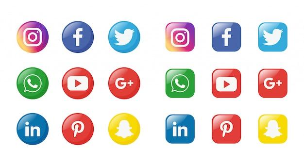 Conjunto de ícones de mídia social isolado no fundo branco.