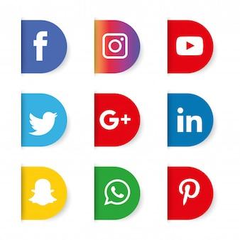 Conjunto de ícones de mídia social. logotipo