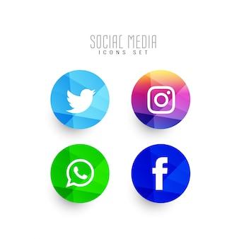 Conjunto de ícones de mídia social moderna abstrata