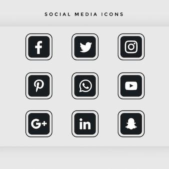 Conjunto de ícones de mídia social preto arredondado
