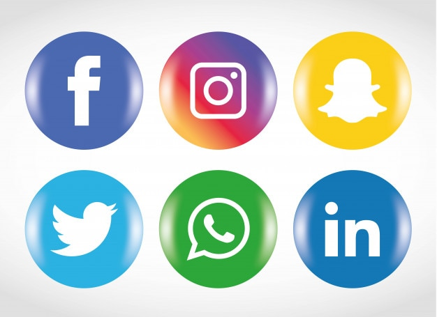 Conjunto de ícones de mídia social.