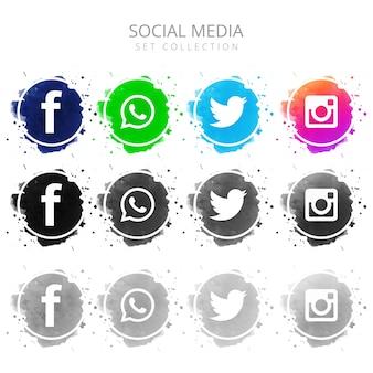 Conjunto de ícones de mídias sociais colorido moderno cenografia