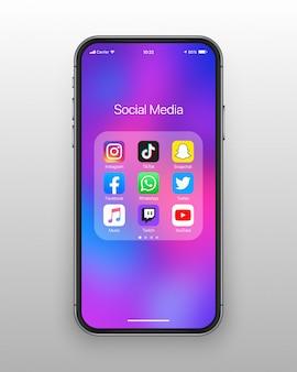 Conjunto de ícones de mídias sociais de pasta smartphone