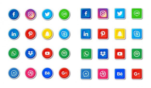 Conjunto de ícones de mídias sociais. facebook, twitter, instagram, youtube, linkedin, wechat, google plus, pinterest, snapchat isolado.