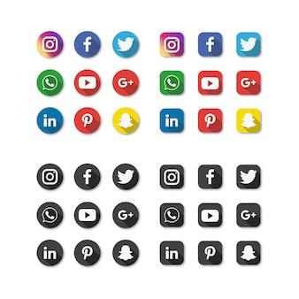 Conjunto de ícones de mídias sociais isolado no fundo branco.