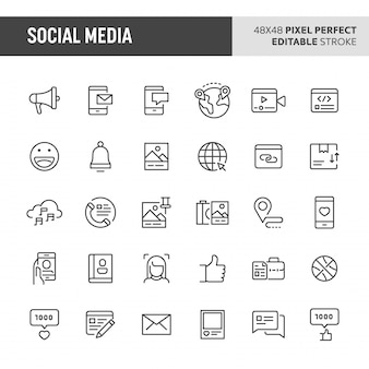 Conjunto de ícones de mídias sociais
